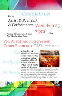 Artist Talk Poster-February 25 at 7PM